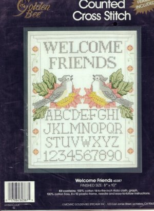 Golden Bee Counted Cross Stitch Kit ~ Welcome Friends Sampler