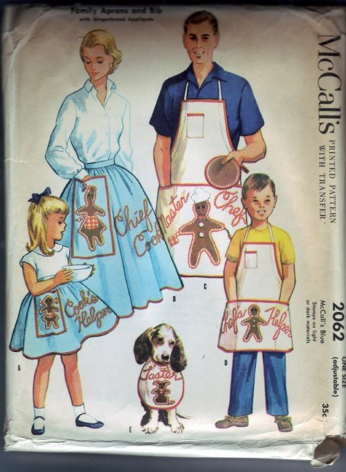 McCalls #2062 Family Aprons and Bib with Ginger Bread Applique