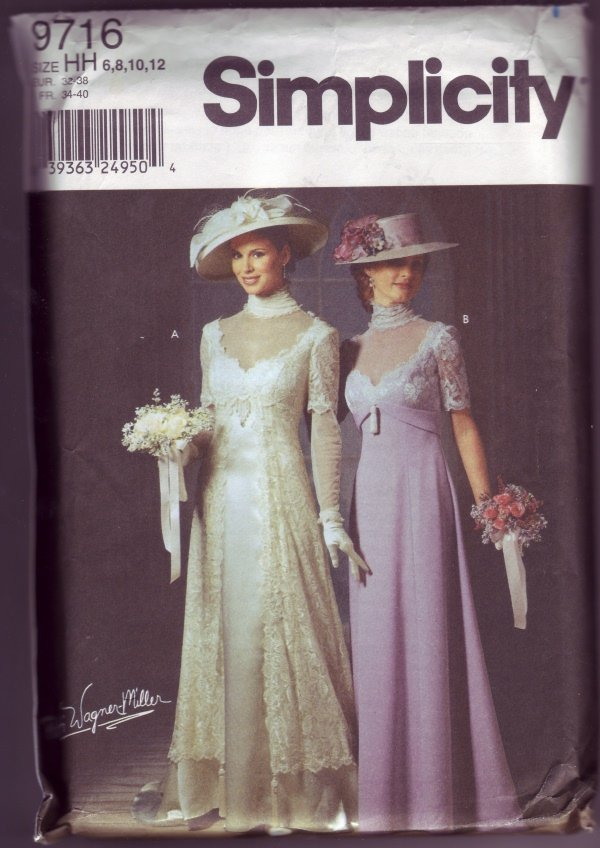 Simplicity 9716 PATTI WAGNER MILLER Designed Gown Pattern