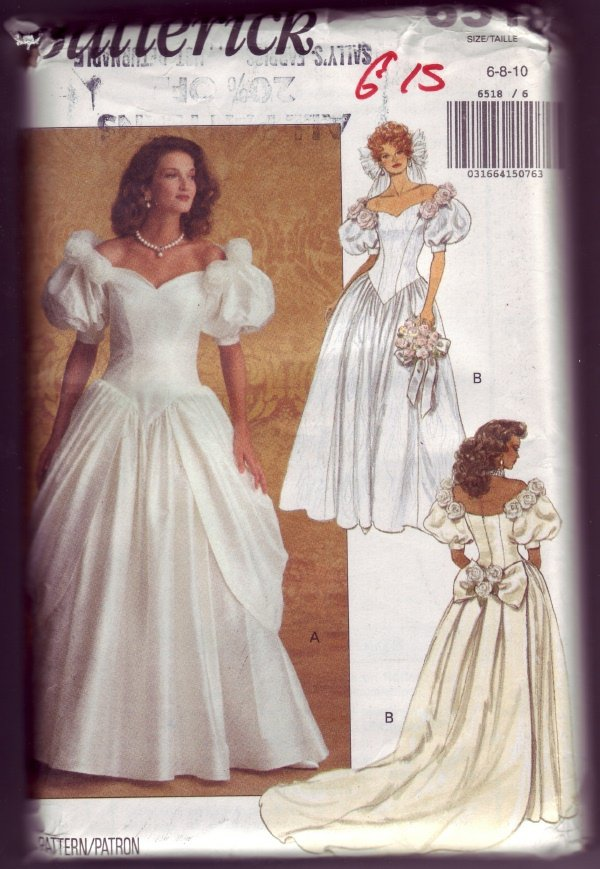 Butterick 6518 Wedding Dress With Fabric Roses Pattern