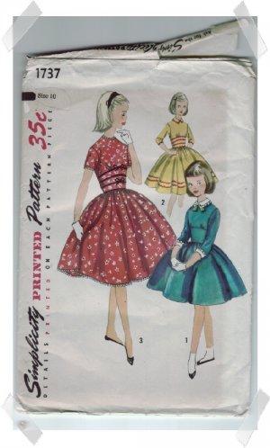 Simplicity #1737 Girls Dress Pattern Size 10 c.1956