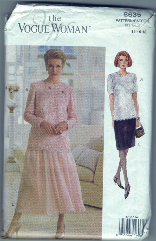 Vogue Pattern #8635 Dressy Lace Top and Skirt Sizes 14-16-18
