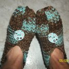 Women's Aqua Blue/Brown Knitted Slippers