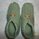 Women's Light Green Knitted Slippers With Cat Buttons