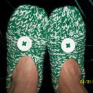 Women's Green/White Hand Knitted Slippers