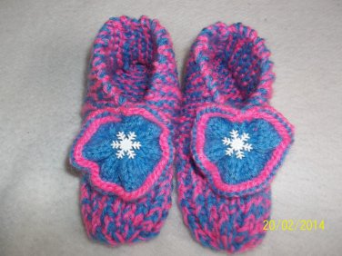 Girl's Snowflake Knitted Slippers