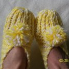 Women's Handknitted Slippers-Yellow/ White With Pom-Poms