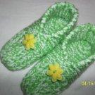 Women's Green/Yellow Flower Handknitted Slippers Size M (7 1/2-9)