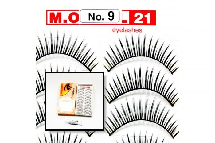 False Fake Eye Lashes Style No. 9 - 10 Pairs of 100% Human Hair Lashes with tube of Glue