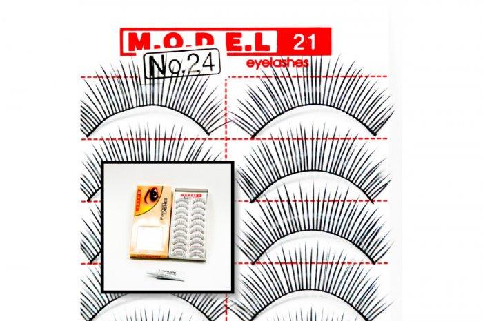 False Fake Eye Lashes Style No. 24 - 10 Pairs of 100% Human Hair Lashes with tube of Glue