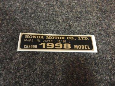 HONDA CR-500R 1998 MODEL TAG HONDA MOTOR CO., LTD. DECALS