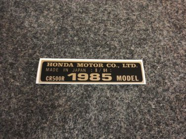 HONDA CR-500R 1985 MODEL TAG HONDA MOTOR CO., LTD. DECALS