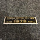 HONDA CR-250R 1979 MODEL TAG HONDA MOTOR CO., LTD. DECALS