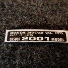HONDA CR-500R 2001 MODEL TAG HONDA MOTOR CO., LTD. DECALS