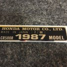 HONDA CR-500R 1987 MODEL TAG HONDA MOTOR CO., LTD. DECALS