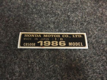 HONDA CR-500R 1986 MODEL TAG HONDA MOTOR CO., LTD. DECALS
