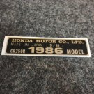 HONDA CR-250R 1986 MODEL TAG HONDA MOTOR CO., LTD. DECALS