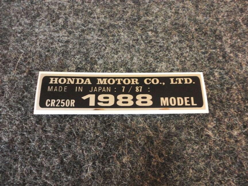 HONDA CR-250R 1988 MODEL TAG HONDA MOTOR CO., LTD. DECALS