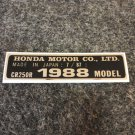 HONDA CR-250R 1988 MODEL TAG HONDA MOTOR CO., LTD. DECALS