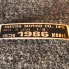 HONDA CR-125R 1986 MODEL TAG HONDA MOTOR CO., LTD. DECALS