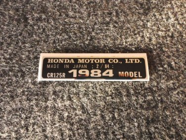 HONDA CR-125R 1984 MODEL TAG HONDA MOTOR CO., LTD. DECALS