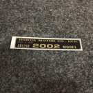 HONDA CR-125R 2002 MODEL TAG HONDA MOTOR CO., LTD. DECALS