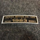 HONDA CR250R 1983 MODEL TAG HONDA MOTOR CO., LTD. DECALS