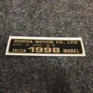 HONDA CR-125R 1998 MODEL TAG HONDA MOTOR CO., LTD. DECALS