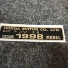 HONDA CR-250R 1998 MODEL TAG HONDA MOTOR CO., LTD. DECALS