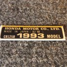 HONDA CR-125R 1993 MODEL TAG HONDA MOTOR CO., LTD. DECALS