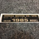 HONDA CR-250R 1985 MODEL TAG HONDA MOTOR CO., LTD. DECALS