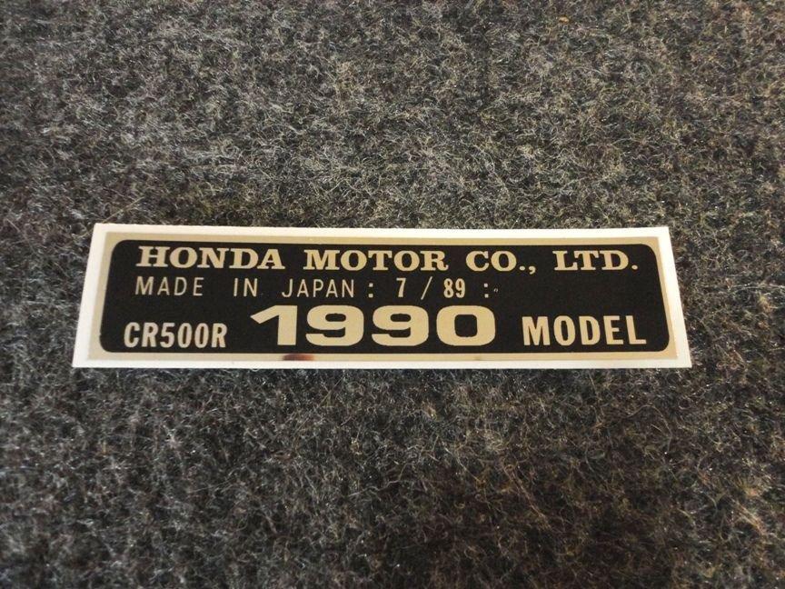 HONDA CR-500R 1990 THRU 1999  MODEL TAG HONDA MOTOR CO., LTD. DECALS