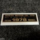 HONDA CR-250R 1978 MODEL TAG HONDA MOTOR CO., LTD. DECALS