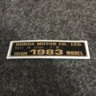 HONDA CR480R 1983 MODEL TAG HONDA MOTOR CO., LTD. DECALS