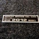 HONDA CRF-450X 2012 MODEL TAG HONDA MOTOR CO., LTD. DECALS
