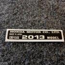 HONDA CRF-450X 2013 MODEL TAG HONDA MOTOR CO., LTD. DECALS