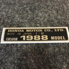 HONDA CR-500R 1988 MODEL TAG HONDA MOTOR CO., LTD. DECALS