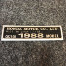 HONDA CR-250R 1988 MODEL TAG HONDA MOTOR CO., LTD. DECALS (PBL)