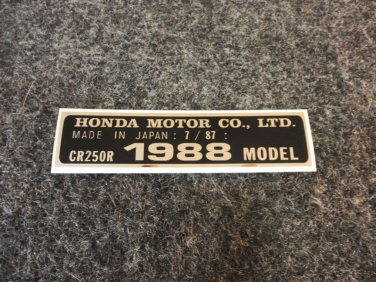 HONDA CR-250R 1988 MODEL TAG HONDA MOTOR CO., LTD. DECALS (PBL)