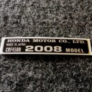 HONDA CRF-450R 2008 MODEL TAG HONDA MOTOR CO., LTD. DECALS