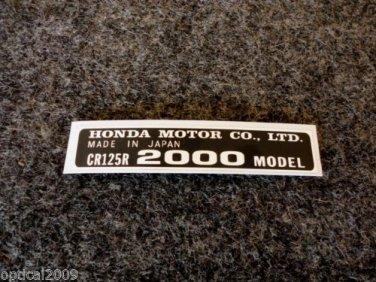 HONDA CR-125R 2000 MODEL TAG HONDA MOTOR CO., LTD. DECALS