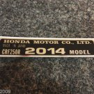 HONDA CRF-250R 2014 MODEL TAG HONDA MOTOR CO., LTD. DECALS