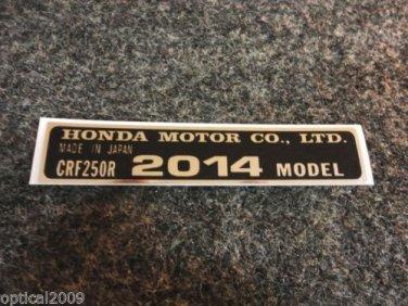 HONDA CRF-250R 2014 MODEL TAG HONDA MOTOR CO., LTD. DECALS