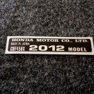 HONDA CRF-450X 2012 MODEL TAG HONDA MOTOR CO., LTD. DECAL