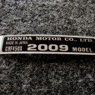 HONDA CRF-450X 2009 MODEL TAG HONDA MOTOR CO., LTD. DECALS