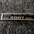 HONDA CRF-450X 2007 MODEL TAG HONDA MOTOR CO., LTD. DECALS