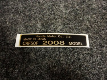 HONDA CRF-50F 2008 MODEL TAG HONDA MOTOR CO., LTD. DECALS