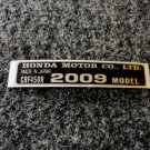 HONDA CRF-450R 2009 MODEL TAG HONDA MOTOR CO., LTD. DECALS