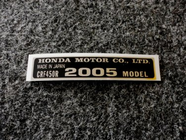 HONDA CRF-450R 2005 MODEL TAG HONDA MOTOR CO., LTD. DECALS