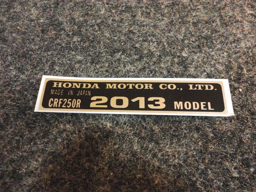 HONDA CRF 250R 2012 MODEL TAG MOTOR CO LTD DECALS